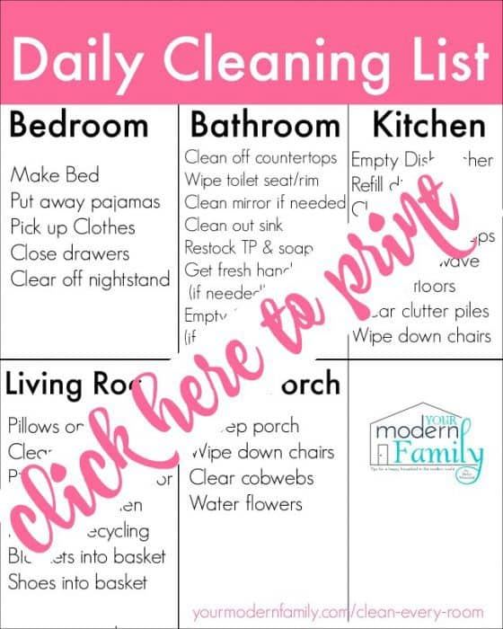 daily cleaning list print here