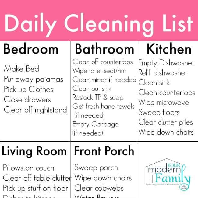 A paper with daily cleaning chores listed .
