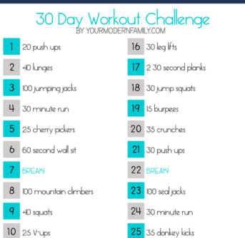 Text about 30 day work out challenge.