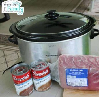 A silver crock pot with two cans of Campbell soup and a pork loin resting in front of it.