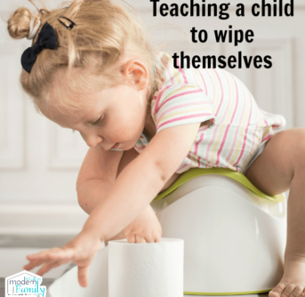 A little girl sitting on a potty chair reaching to toilet paper with text above her.