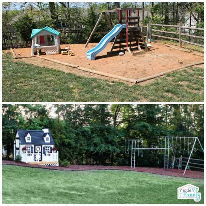 Two pictures of a back yard play area with swing set and playhouse.