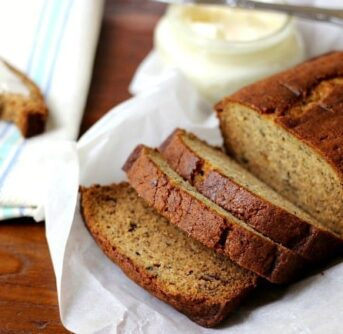 A loaf of banana bread on a plate.