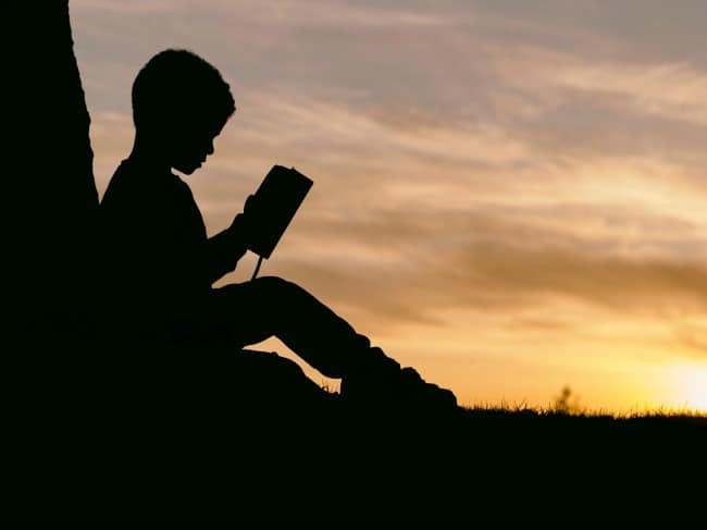 A silhouetted boy sitting in the grass reading a book with a sunset in the background.