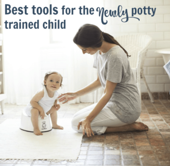 A woman kneeling on the floor beside a child on a potty seat with text above them.