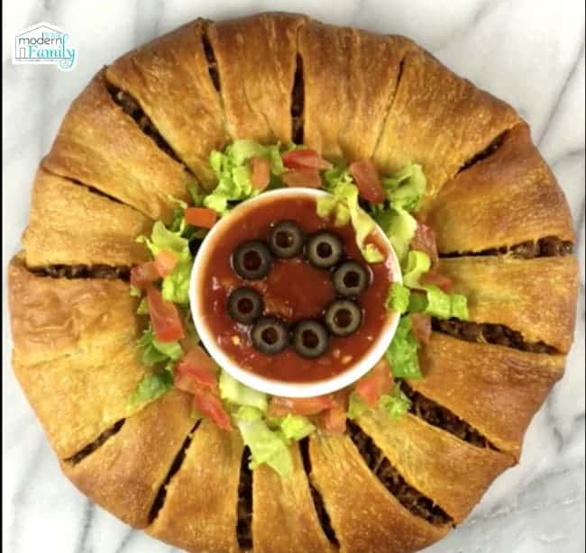 Taco ring made from crescent rolls.