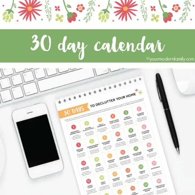 pin for 30 Day Declutter Your Home Calendar