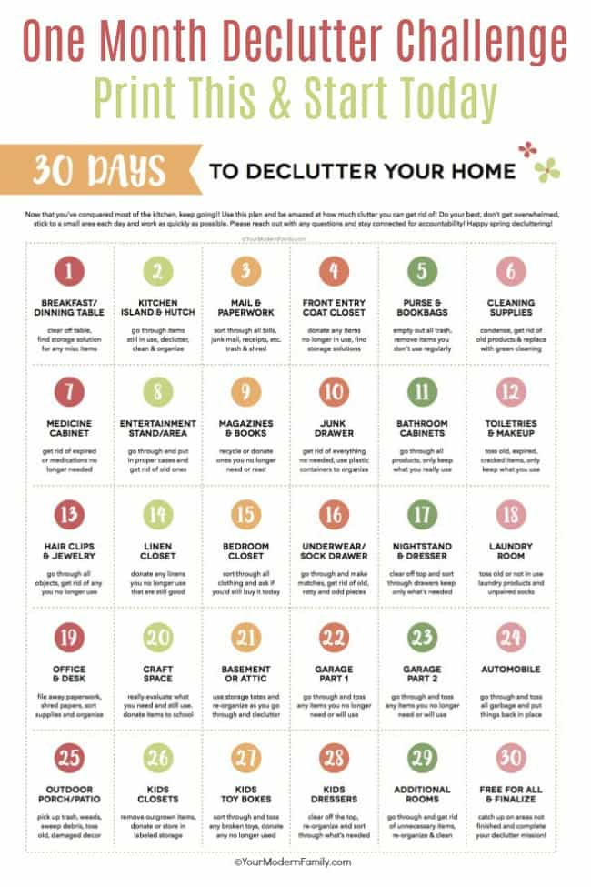 30 day declutter challenge Printable