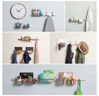 A collage of five pictures of items hanging on a wall.