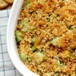 Broccoli cheese casserole with ritz cracker topping