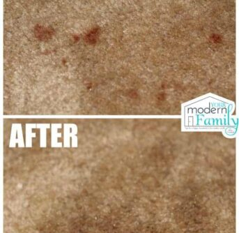A before and after picture of a stained and clean carpet.