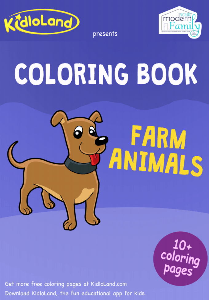 Farm Animals Printable Coloring Book
