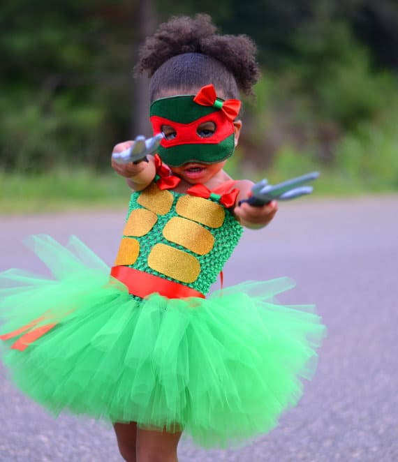No Sew TuTu costumes for little girls - TMNT costume