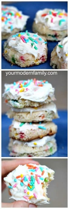 Three pictures of cookies stacked on top of each other.