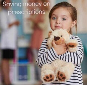A girl holding a teddy bear with text above her.