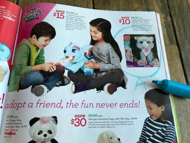 An open toy catalog.
