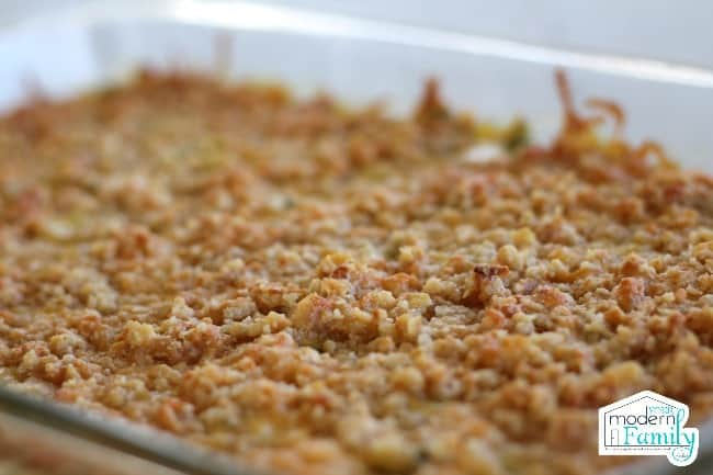 A tray of baked Vegetable Casserole with Cheesy Cracker Topping.