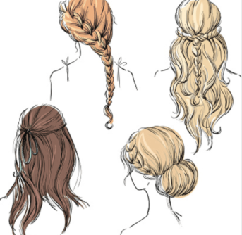 A close up of drawings of ladies hair styles.