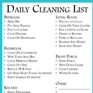 Daily Cleaning List to clean every room  {Free Printable}