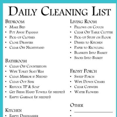 daily cleaning list to clean every room free printable your