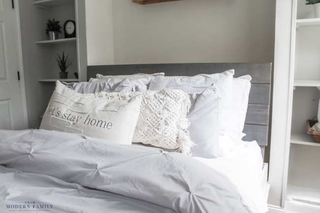pillows on wall bed