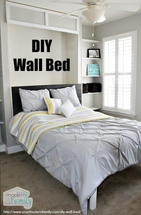 A bedroom with a DIY Wall Bed.