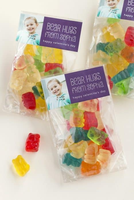 Bags of gummy bears with a picture of a baby and text.