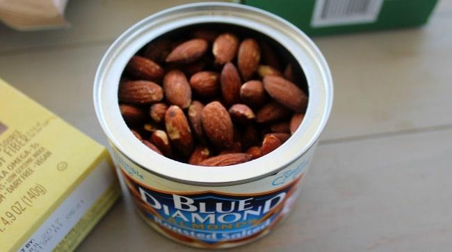 An open can of Blue Diamond Almonds.