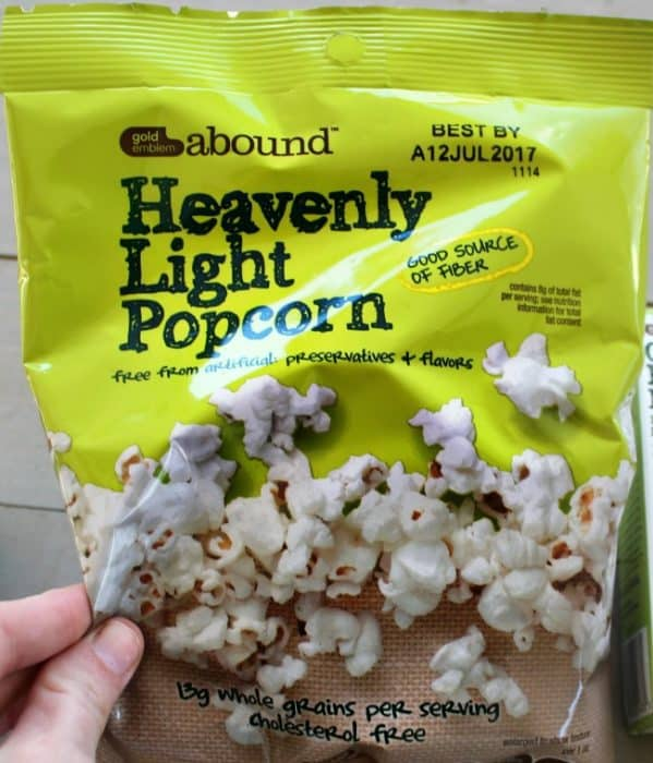 A close up of a bag of Heavenly Light Popcorn.