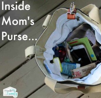 View of the inside of a purse with text above it.