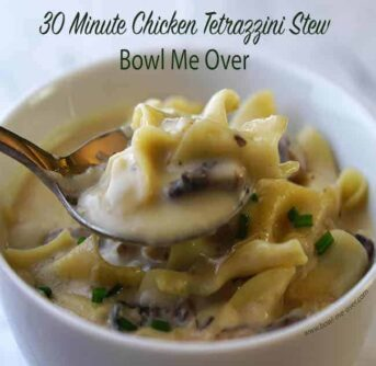 A bowl of Chicken Tetrazzini Stew in a white bowl with a spoonful of stew and a text above it.