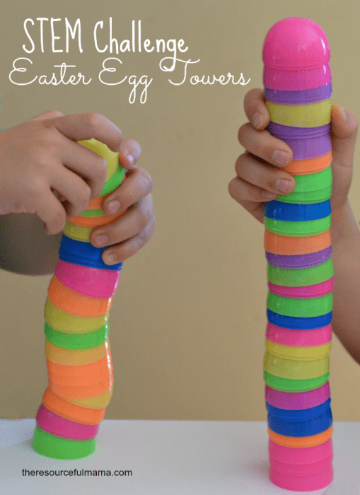Plastic Easter eggs stacked together.