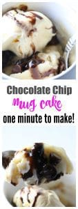 chocolate chip mug cake - ONE MINUTE is all it takes to make this!