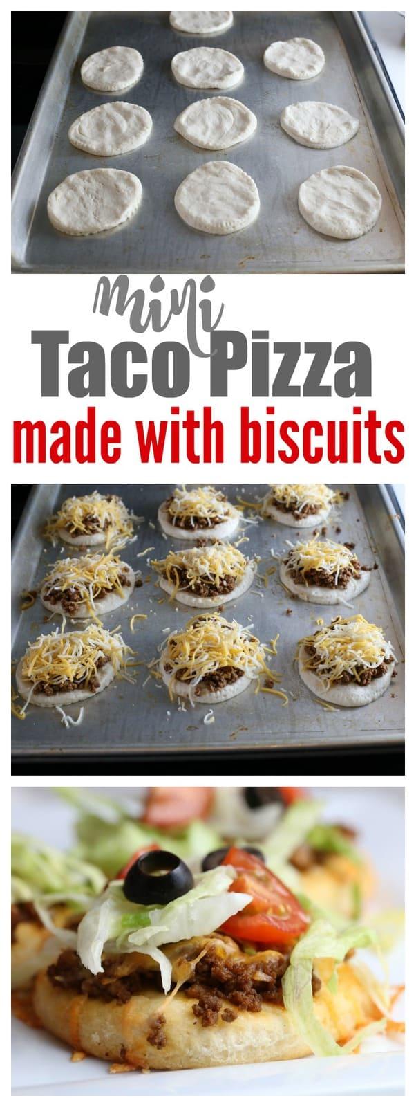 Mini taco pizza on a baking sheet.