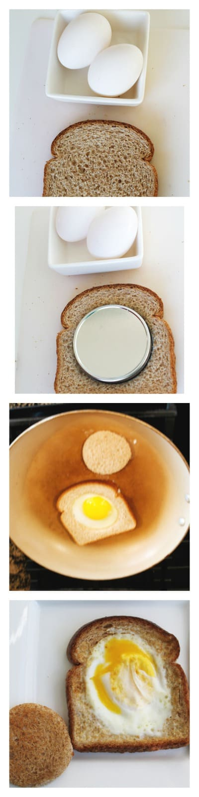 Four pictures of steps to make eggs on a basket.