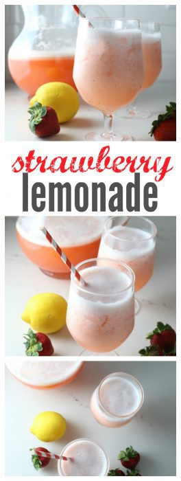 A glass of frozen strawberry lemonade