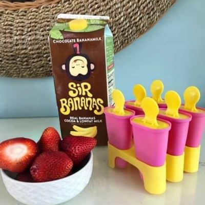 Chocolate covered strawberry banana freezer pops
