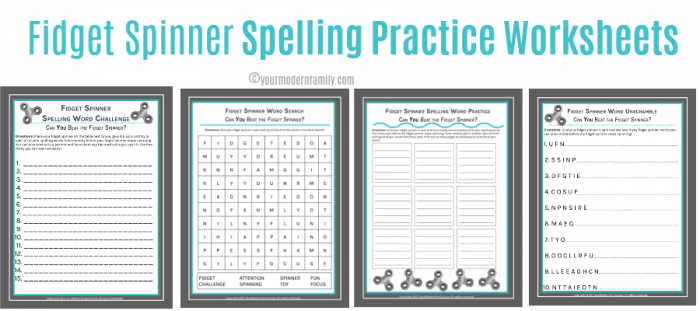 Fidget Spinner Spelling Word List Sheets