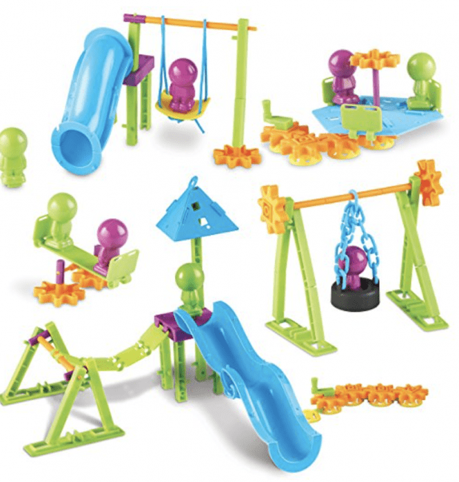 A group of playground STEAM toys on a table.