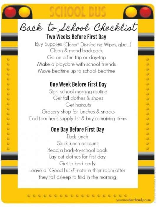 Back to School Checklist - Your Modern Family