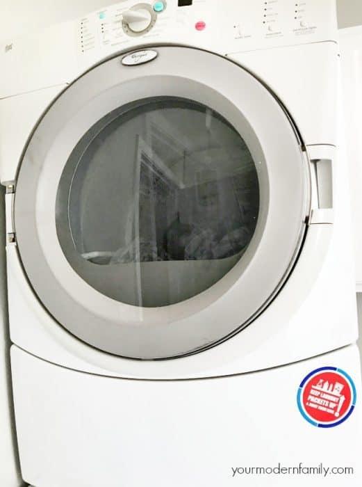 A close up view of a washing machine.