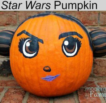 A pumpkin decorated  as Princess Leia.