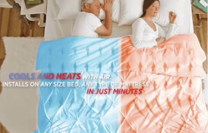 Two people lying in bed with different colors on their comforter with text below them.