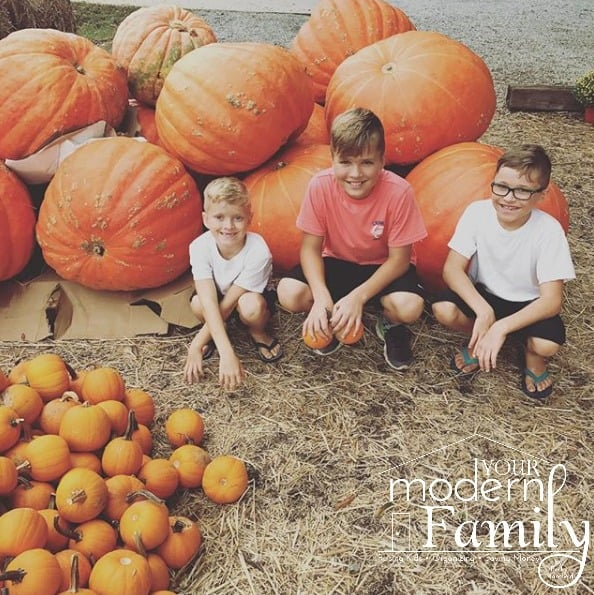 A group of boys sitting in front of a pile of pumpkins.