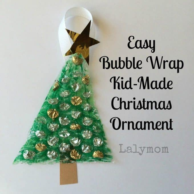 A close up of a bubble wrap Christmas tree craft.