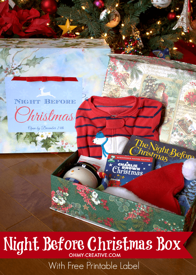 Christmas items in a box.