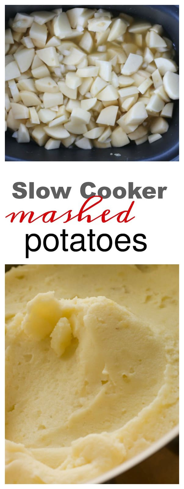 Text above a close up of mashed potatoes.