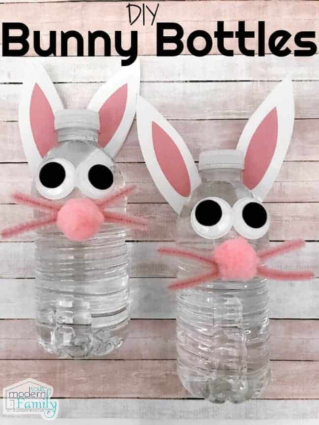 Water bottles decorated to look like bunnies with ears, whiskers and eyes.
