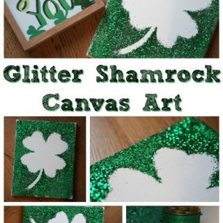 DIY Glitter Shamrock Canvas Art Project