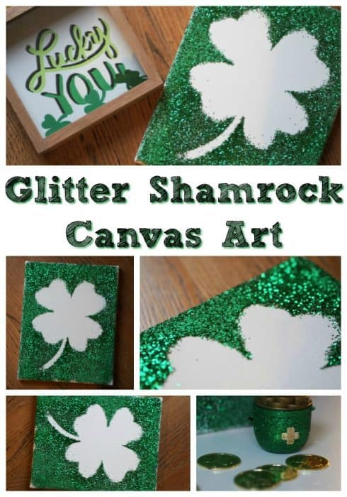 DIY Glitter Shamrock Canvas Art